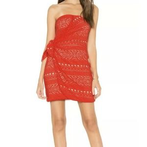 Free People L Strapless Dress Crochet Lace Red